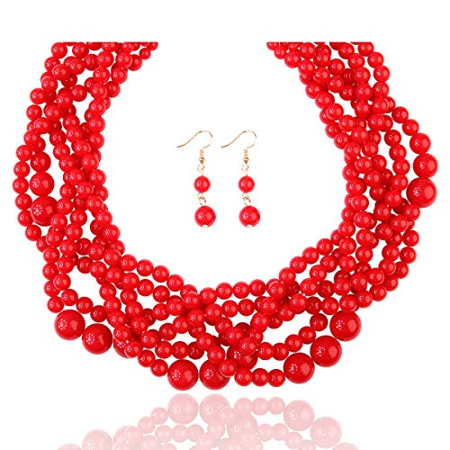 RIAH FASHION Braided Chunky Cluster Bead Bubble Statement Necklace - Multi Strand Twisted Colorful Twisted Ball Hammock Bib Collar (Red)