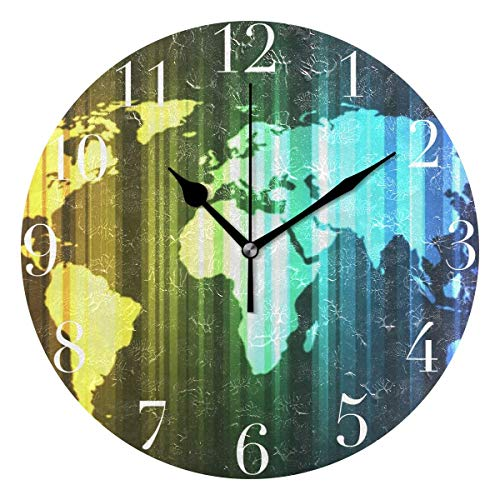 Dozili Modern Rainbow Striped World Map Round Wall Clock Arabic Numerals Design Non Ticking Wall Clock Large for Bedrooms,Living Room,Bathroom (Large Rustic Wall Clock With World Map Design)