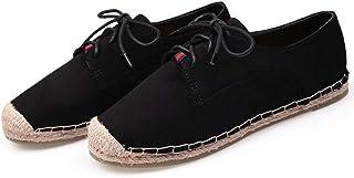 YOPAIYA Espadrilles Plat Loafers Femmes Noir Chaussures Plates À Lacets Dames Occasionnels Appartements De Mode en Daim À La Main Femme Chaussures Printemps Automne
