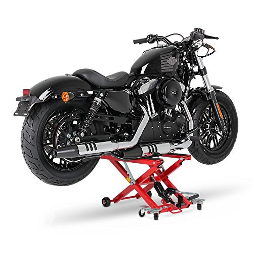 ConStands Motorbike Motorcycle jack lift Mid-Lift XL red for Harley Davidson Night Train (FXSTB), Night-Rod/Special (VRSCDX)/(VRSCD), Road King (FLHR/I), Road King Classic/Custom (FLHRC/I)/(FLHRSI)