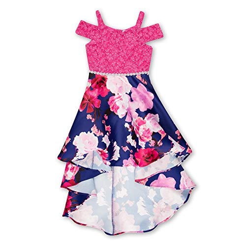 Speechless Girls' Big Shoulder High-Low Party Dress, Sapphire Fuchsia 14 -