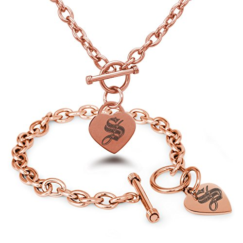 Rose Gold Plated Stainless Steel Letter S Initial Royal Monogram Heart Charm Toggle, Bracelet & Necklace (Gold Toggle Necklace)