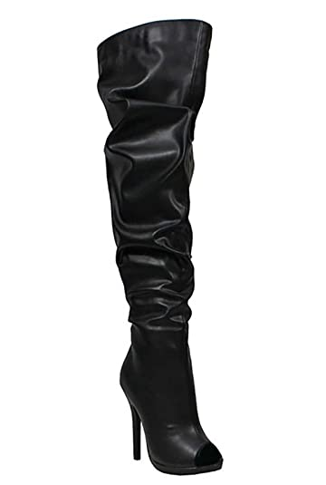 aea03038600d Liliana Faux Leather Peep Toe Thigh High Stiletto Slouch Boot Opus5 (Black  5.5)