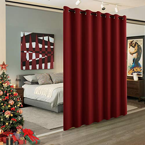 RYB HOME Blackout Room Divider, for Kids, Privacy Curtain Room Darkening Shade for Share Space/Nursery/Bedroom/Kitchen, Wide 100 INES x Long 84 inches, Burgundy Red, 1 Piece