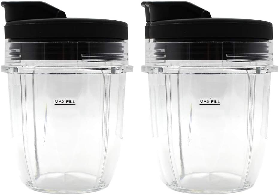 Anbige Replacement Parts Cup Jar, Fits Nutri Ninja Auto-iQ 1000W and Duo Blenders (2 12oz cups+lids)