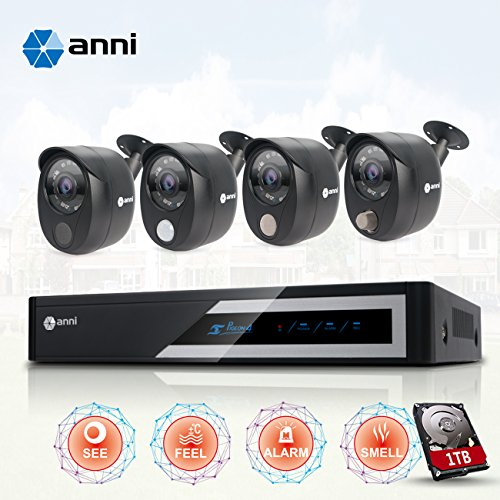 Anni Home Security Camera System 1080p Wired Surveillance Kit, 4 CH 1080N DVR, 4 x1080p Cameras: 1 PIR Sensor Camera, 1 Gas Detector Camera, 1 Siren Alarm Camera, 1 Normal Camera, with 1TB HDD