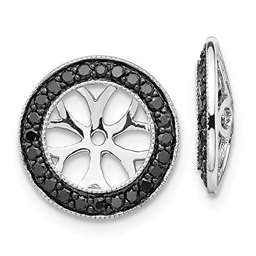 (14k White Gold Black Diamond Ear Jacket Jackets For Studs Ejm Fine Jewelry Gifts For Women For Her )