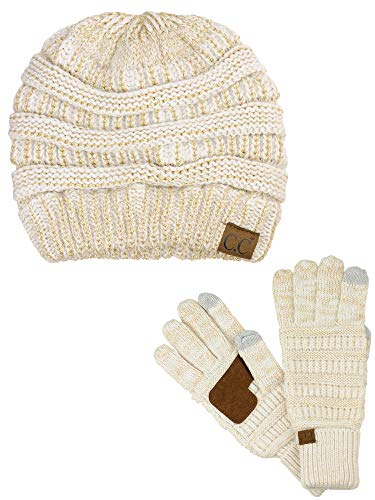 tch Cable Knit Beanie and Anti-Slip Touchscreen Gloves 2 Pc Set, Ivory/Gold Metallic ()