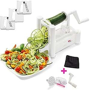WonderVeg - 3 Stainless Steel Blades - Spiralizer Vegetable Slicer, Zoodle Maker, Vegetable Spiralizer, Zucchini Maker, Spiral Slicer- Cleaning Brush, Mini Recipe Book, 6 Spare Parts Included