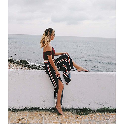 Womens Stripe High Waisted Wide Lounge Wide Leg Culottes Split Palazzo Skirt Pants M,Navy by Oops Style (Image #4)