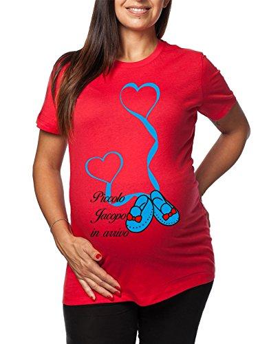 per il arrivo Rosso maschietto tshirt donna lunga divertenti Jacopo Piccolo ideale premaman simpatiche humor in da Tshirt e PTnXI0HqP
