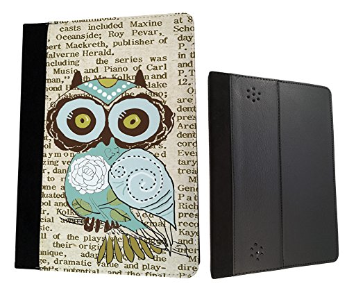 Amazon Kindle Fire HD 7'' 2nd generation 2013 Cute Owl Vintage newspaper Funky Designer Trend Wallet Case Flip Book Style Cover
