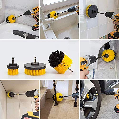 QUIENKITCH SET/12Piece Drill Brush & Scrub Pads, Power Drill Scrub Brush Attachments with Drill bit Extender for Grout, Tiles, Sinks, Bathtub, Bathroom, Shower & Kitchen Surface by QUIENKITCH (Image #4)