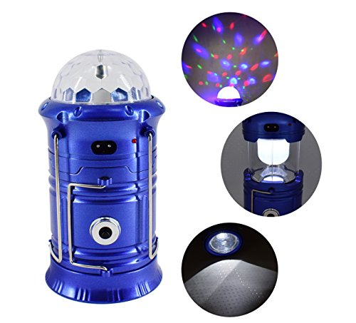 Haoerliang 3 in 1 LED Rechargeable Party Disco Light ,Camping Lantern and Emergency Hand-held Flashlight with USB Port Available,Suitable for hiking, camping, fishing, hurricanes (Blue)