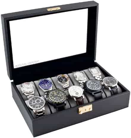 Caddy Bay Collection Classic Black Watch Case With Glass Clear Top Holds 10 Watches With Lock