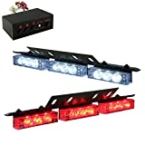 18 x Ultra Bright LED Emergency Warning Use Flashing Strobe Lights Bar For Windshield Dash Grille (18 Led, Red and White)