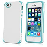 BoxWave Apple iPhone 5 Pure Accent Case - Silicone TPU Slim-Fit Protective Case - Apple iPhone 5 Cases and Covers (White/Blue)