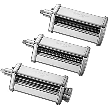 Gvode Kitchen 3-Piece Pasta Roller and Cutter Set for KitchenAid Stand Mixers,Stainless Steel