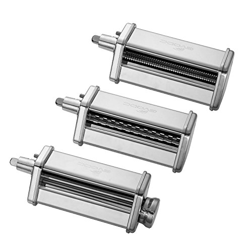 GVODE 3-Piece Pasta Roller and Cutter Set for KitchenAid Stand Mixers,Stainless Steel by GVODE