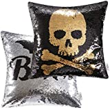 Ashler Set of 2 Magic Reversible Sequin Mermaid Throw Pillow Covers Skeleton and Bats for Haunted House Decoration 18 x 18 Inches 45 cm x 45 cm