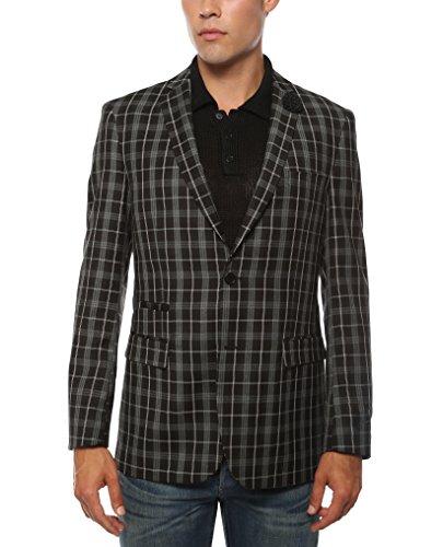 Ferrecci 40R Mens Alton Black & White Slim Fit Plaid Blazer from Ferrecci