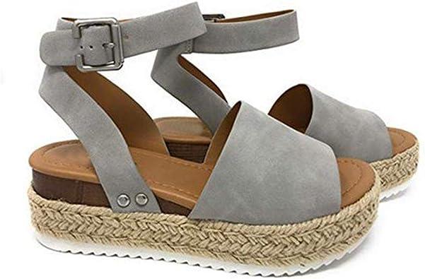 Sandals Women Comfortable ALOVEMO Casual Women Fish Mouth Platform High Heels Sandals Slope Sandals Slippers