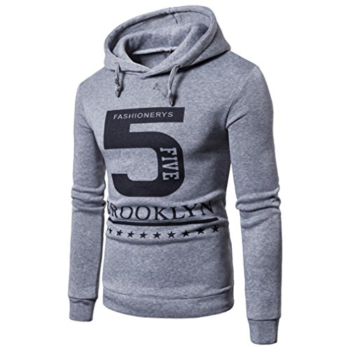 "Hot Sale! Clearance!Todaies Men's Long Sleeve Printed ""5"" Hoodie Hooded Sweatshirt Top Tee Outwear Blouse (L, Gray) (Faux Shearling Hipster)"