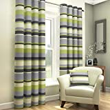 Tony's Textiles Pair of Striped Lined Window Treatment Drapes Curtains with Eyelet Grommet Top 90' Wide x 90' Drop - Green Gray Cream