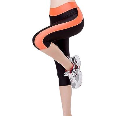 Fensajomon Womens Summer Color Block Elasticity High Waist Yoga Capri Jogger Leggings