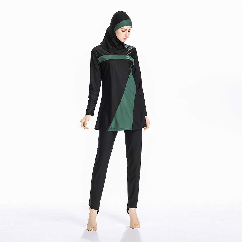 Acqrobe Women Burkini Modest Swimwear Sun Protection Long Sleeves Full Coverage Swimwear Islamic Hijab 3 Pieces Swimsuits Sets