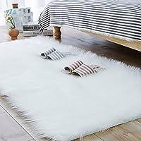 Carvapet Soft Faux Sheepskin Fur Rug Rectangle Area Rug Bedside Carpet for Bedroom Floor Sofa Fireplace Mat Living Room