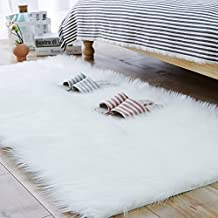 Carvapet Luxury Soft Faux Sheepskin Fur Area Rugs for Bedside Floor Mat Plush Sofa Cover Seat Pad for Bedroom, 2.3ft x 5ft,White