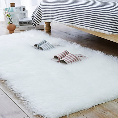 Carvapet Luxury Soft Faux Sheepskin Fur Area Rugs for Bedside Floor Mat Plush Sofa Cover Seat Pad for Bedroom, 2.3ft x 5ft,White ()