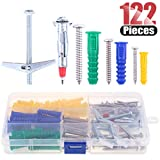 Hilitchi 122 Piece Plastic Self Drilling Drywall Hollow-wall Anchor Molly Bolt Toggle Bolt with Screws Kit