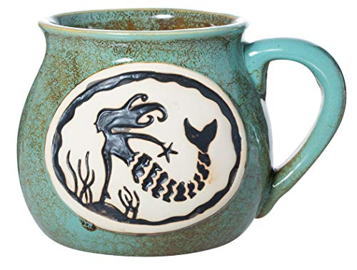 Cape Shore Handcrafted Bean Pot Stoneware 16oz Mug, Multiple Styles Available (Mermaid)