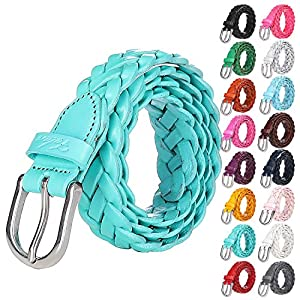 Falari Women's Leather Braided Belt Stainless Steel Buckle 6007-16 Colors