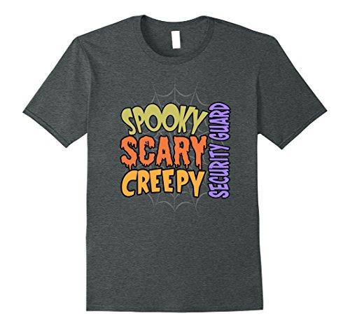Creative Costumes Color Guard (Mens Spooky Scary Creepy Security Guard Halloween Costume T-shirt Medium Dark Heather)