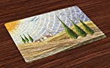 Ambesonne Italian Place Mats Set of 4, Van Gogh Style Italian Valley Rural Fields with European Scenery Painting Print, Washable Fabric Placemats for Dining Room Kitchen Table Decor, Multicolor