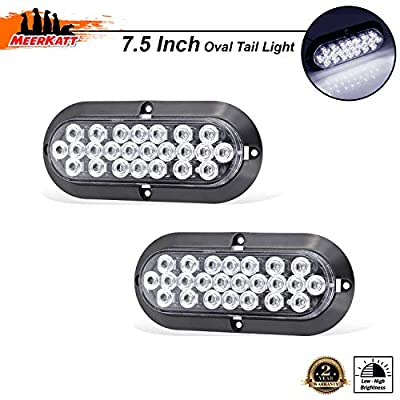 Meerkatt (Pack of 2) 6 Inch White LED Sealed Oval Clearance Lamp Backup Reverse Tail Light Power Save Waterproof 24 Diodes Trailer Cabin Pickup Jeep Tow Bus Lorry RV SUV 12v DC Heavy Duty Truck DK12: Automotive