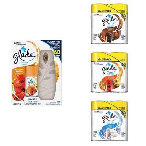 Glade Automatic Spray Multi-Room Fragrance Variety Pack - Cashmere Woods, Hawaiian Breeze, Clean Linen