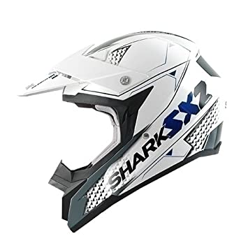 Shark Casco de Motocross, Blanco/Azul/Antracita, M