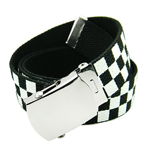 (Classic Silver Men's Military Slider Buckle with Canvas Web Belt X-Large Checkered)