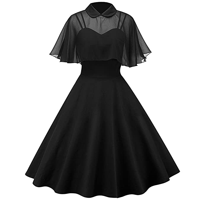 iBaste Womens Vintage Audrey Hepburn Peter Pan Collar Spaghetti Straps Chiffon Ruffled Sleeve See-through