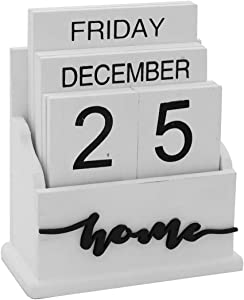 Wooden Flip Desk Blocks Calendar - Perpetual Plank Table Calendar Week Month Date Display Home Office Decoration( White), 5 x 2.5 x 6 inches