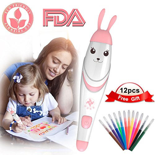 Painting Crafts for Kids, 12pcs Colored Pens with Electric Air Marker Sprayer Airbrush Magic Pens Maker, Art Sets for Girls, Childrens Crafts Ages 3-10, Christmas Gift for Kids Drawing Painting Toys
