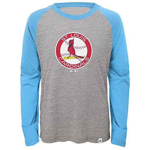 Majestic St. Louis Cardinals Two to One Long-Sleeve Raglan Youth T-Shirt - Long Louis Cardinals Sleeve