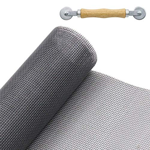 Charcoal Fiberglass Window Screen 48X99inch Adjustable Inflaming Retarding DIY Mosquito Screen Mesh with Spline Rolling Tool Anti Fly Bug Insect for Windows and Doors