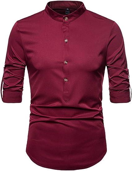 Camisa con Cuello pequeño Salvaje de Color sólido Camisa ...