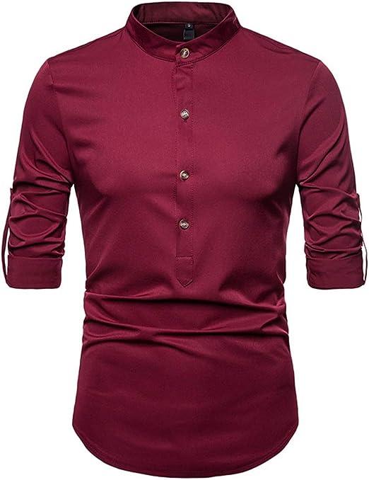 Susulv-MCL Camisa de los Hombres Camisa con Cuello pequeño Salvaje de Color sólido Camisa Casual de Manga Larga para Hombre Camisas Casuales (Color : Vino Rojo, tamaño : L): Amazon.es: Hogar