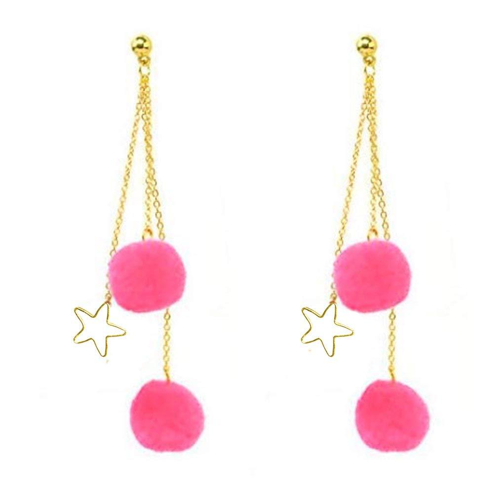 Kwan Long Chain Tassel Earrings Pom Pom Star Dangle Drop Ear Studs for Women Girls Gold Tone Fashion
